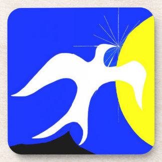 White Dove of Peace and Yellow Sun on Blue Back Beverage Coaster