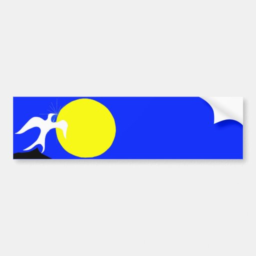 White Dove of Peace and Yellow Sun on Blue Back Bumper Stickers