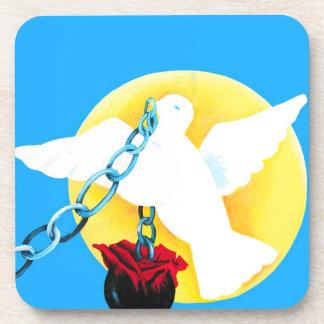 White Dove of Peace,Yellow Sun, Wall, Ball and Cha Coaster