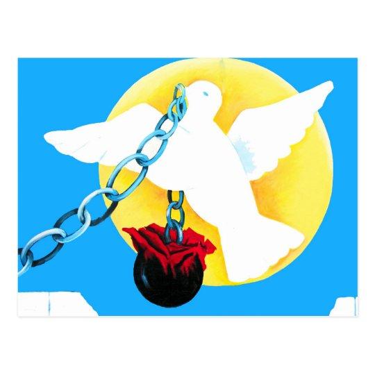 White Dove of Peace,Yellow Sun, Wall, Ball and Cha Postcard