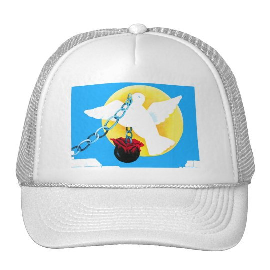 White Dove of Peace,Yellow Sun, Wall, Ball and Cha Trucker Hat