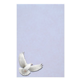 White Dove on Blue Stationery