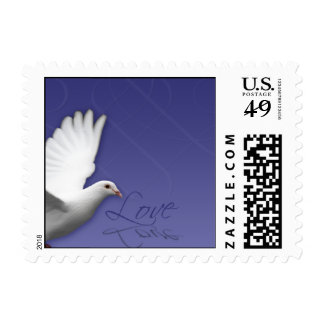 White Dove on Periwinkle Blue Love Postage