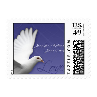 White Dove on Periwinkle Love Postage