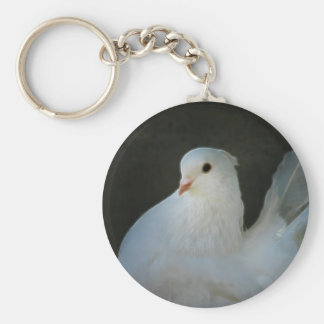 White dove peace symbol keychain