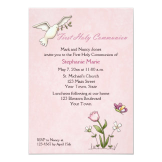 White Dove, Pink Flower Holy Communion Personalized Invites