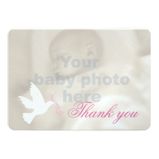 White dove pink girls baptism photo thank you card