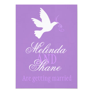 White dove purple ribbon formal wedding invite