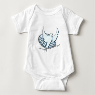 White dove w/ crown of thorns baby bodysuit