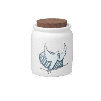 White dove w/ crown of thorns candy jar