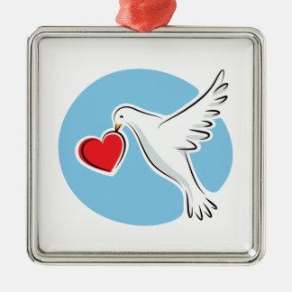 White dove with red heart square ornament