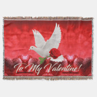 White Dove with Red Rose Throw