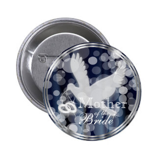 White Dove with Wedding Rings on Dark Blue Pinback Button