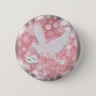 White Dove with Wedding Rings on Pink Rose Pinback Button