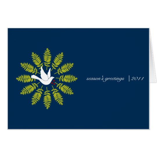 White Dove Wreath on Blue Business Christmas Card