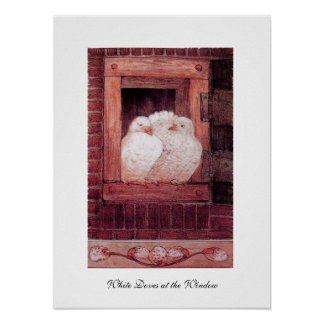 WHITE DOVES AT THE WINDOW, anique red pink Poster