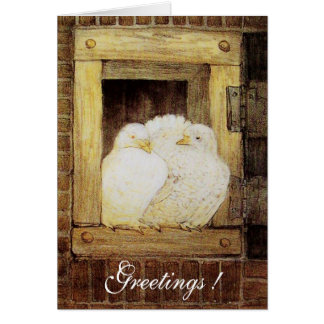 WHITE DOVES AT THE WINDOW, antique brown yellow Card