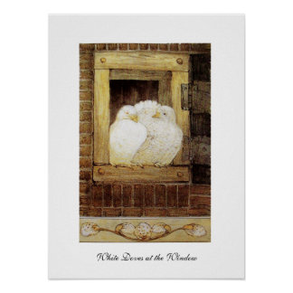 WHITE DOVES AT THE WINDOW,antique brown yellow Poster
