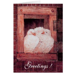 WHITE DOVES AT THE WINDOW, antique red pink Card