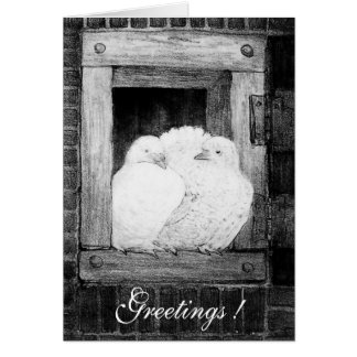 WHITE DOVES AT THE WINDOW, black and white Card