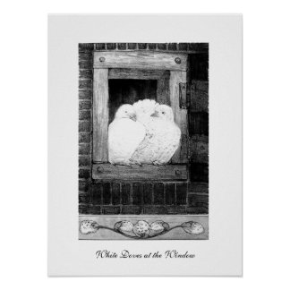 WHITE DOVES AT THE WINDOW, black and white Poster