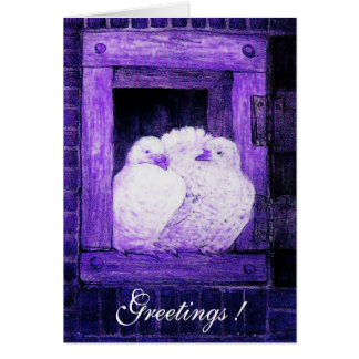 WHITE DOVES AT THE WINDOW, blue purple Card