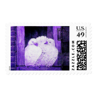 WHITE DOVES AT THE WINDOW, blue purple Postage