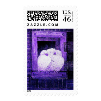 WHITE DOVES AT THE WINDOW blue purple Postage