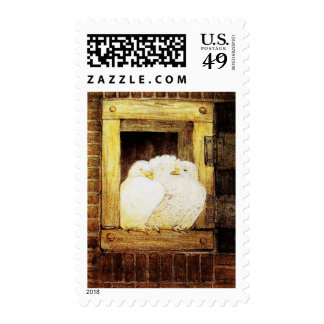 WHITE DOVES AT THE WINDOW, brown yellow Postage Stamps