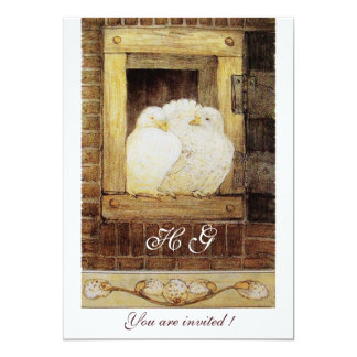 WHITE DOVES AT THE WINDOW monogram, brown yellow Card