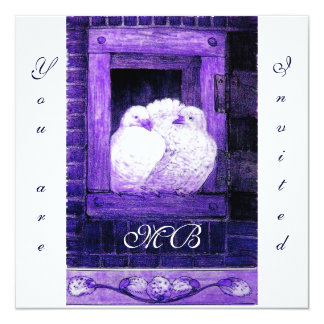 WHITE DOVES AT THE WINDOW, monogram Card