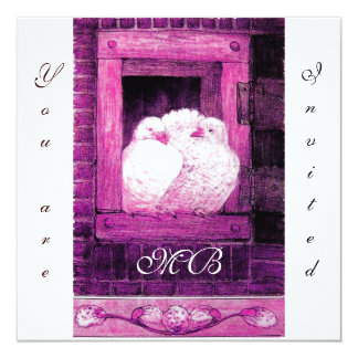 WHITE DOVES AT THE WINDOW ,monogram Card