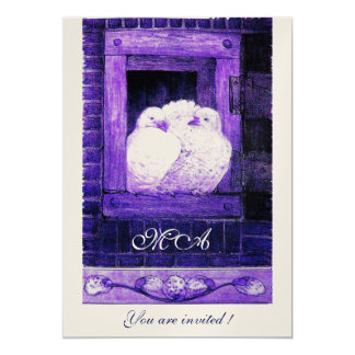 WHITE DOVES AT THE WINDOW monogram, champagne Card