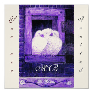 WHITE DOVES AT THE WINDOW,monogram champagne Card
