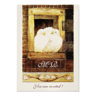 WHITE DOVES AT THE WINDOW monogram champagne Card