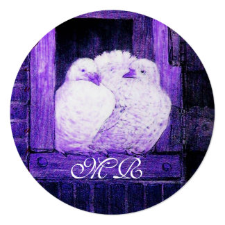 WHITE DOVES AT THE WINDOW MONOGRAM Circle Card