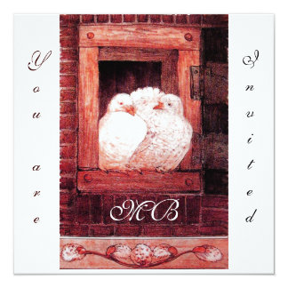 WHITE DOVES AT THE WINDOW, monogram red Card