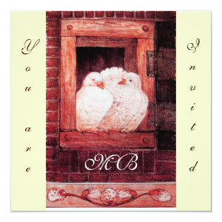 WHITE DOVES AT THE WINDOW monogram ,red ,cream Card