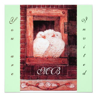 WHITE DOVES AT THE WINDOW, monogram red green Card
