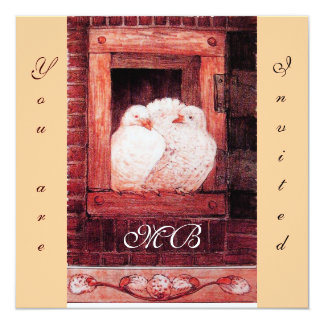 WHITE DOVES AT THE WINDOW, monogram red pink Card