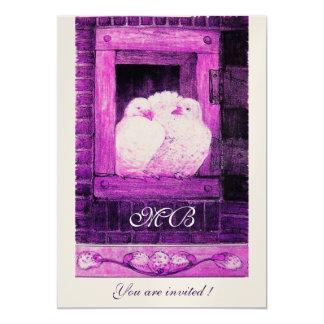 WHITE DOVES AT THE WINDOW Monogram, White Purple Card