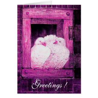 WHITE DOVES AT THE WINDOW, pink purple violet Card