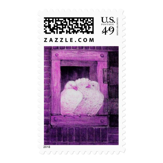 WHITE DOVES AT THE WINDOW, pink purple violet Postage