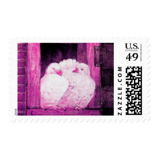 WHITE DOVES AT THE WINDOW, pink purple violet Stamps