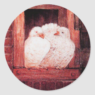 WHITE DOVES AT THE WINDOW pink red brown Classic Round Sticker
