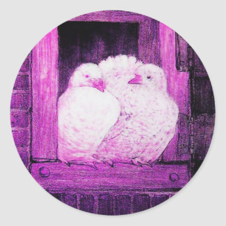 WHITE DOVES AT THE WINDOW pink violet purple Classic Round Sticker