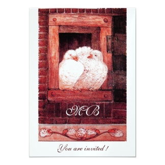 WHITE DOVES AT THE WINDOW,red, ice metallic Card