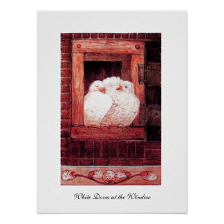 WHITE DOVES AT THE WINDOW, red pink Poster