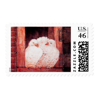 WHITE DOVES AT THE WINDOW red Postage Stamp