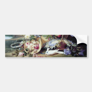 White Doves Birds Flowers painting Bumper Sticker